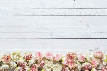 Background with border of white and pink small roses on painted