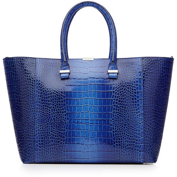 Victoria Beckham Textured Leather Tote found on Polyvore featuring bags, handbags, tote bags, totes, borse, purses, blue, blue purse, hand bags and man bag