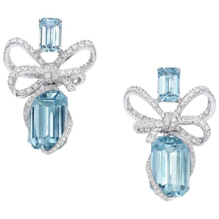 Vanleles Diamond Aquamarine Gold Lyla's Bow Earrings | From a unique collection of vintage drop earrings at https://www.1stdibs.com/jewelry/earrings/drop-earrings/
