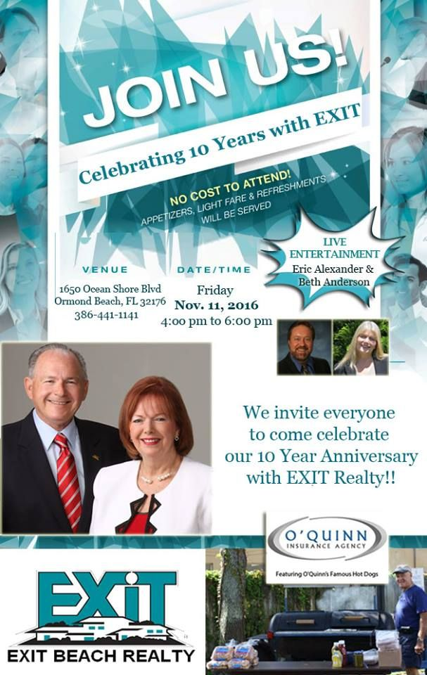 Don't miss it!! Friday, November 11th we are celebrating 10 years with EXIT Realty Corp. International!! Join us for food, fun, and live entertainment! #allinforEXIT #daytonarealtors #ormondrealtors #orangecityrealtors