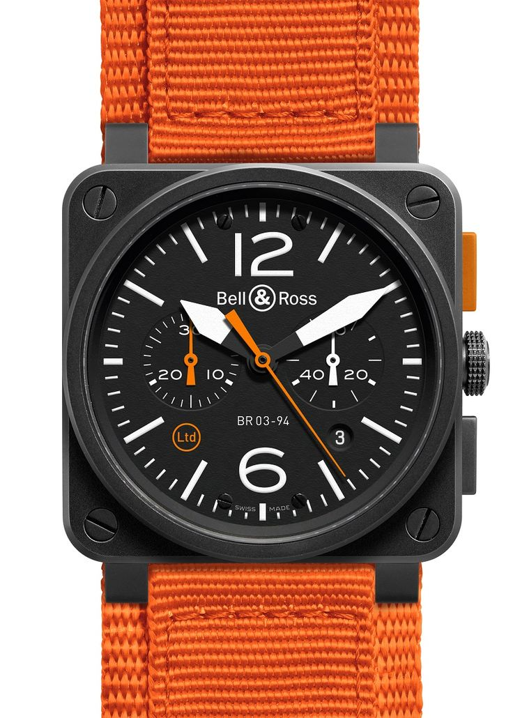 "Bell & Ross BR 03-94 Carbon Orange Watch - by Patrick Kansa - Read more and see it on a rubber strap too on aBlogtoWatch.com ""When you hear the name Bell & Ross, if you're like me, you have a particular mental picture that comes to mind - a square case that calls to mind the very aviation instruments they're intended to reference. For 2014, Bell & Ross is introducing a new model to their Aviation collection that relies not just on the shape, but also the color scheme..."""