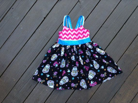Glitter Sugar Skulls Dress Size 6 Ready to by MiaBellaBabyBoutique