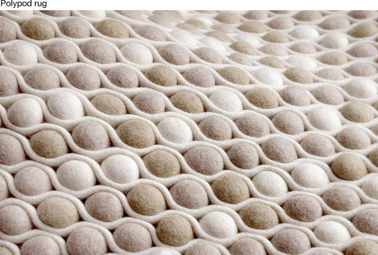 Alfombra con bolas de lana de fieltro felter balls - Alfombra de lana ...