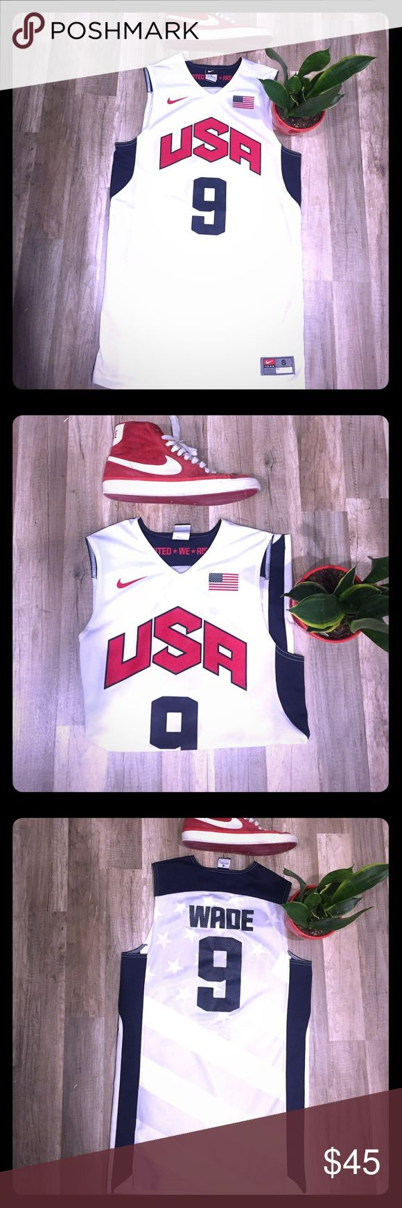 Team USA Dwyane Wade Authentic 2012 Olympic Jersey RARE Olympic Basketball jersey (Only worn a few times) size (small) perfect fit because doesn't drape like a dress... selling because I have a 2016 Olympic kyrie jersey that I like and wear more... if you have any questions or concerns contact me and I will respond ASAP rocky... cheers! Nike Shirts Tank Tops