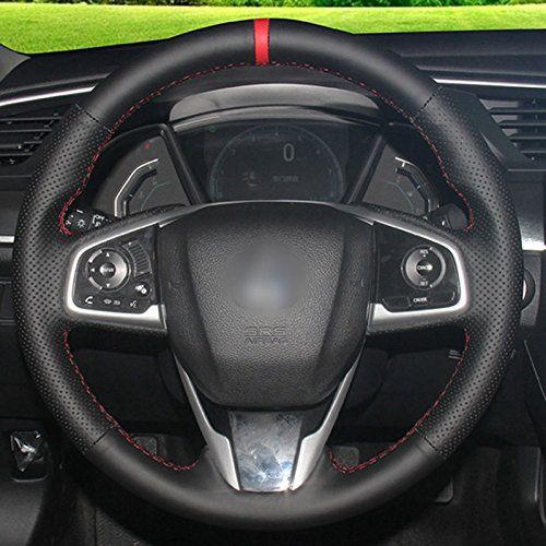 Fidgetfidget Steering Wheel Top Leather Handstitch On Wrap Cover For Honda Civic 201617 Crv To Vi Car Steering Wheel Cover Steering Wheel Cover Honda Civic