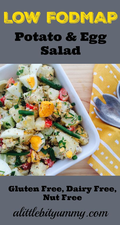 Simple Low FODMAP Potato & Egg Salad. Perfect for lunch or as a side salad. This recipe is also gluten free, dairy free & nut free.