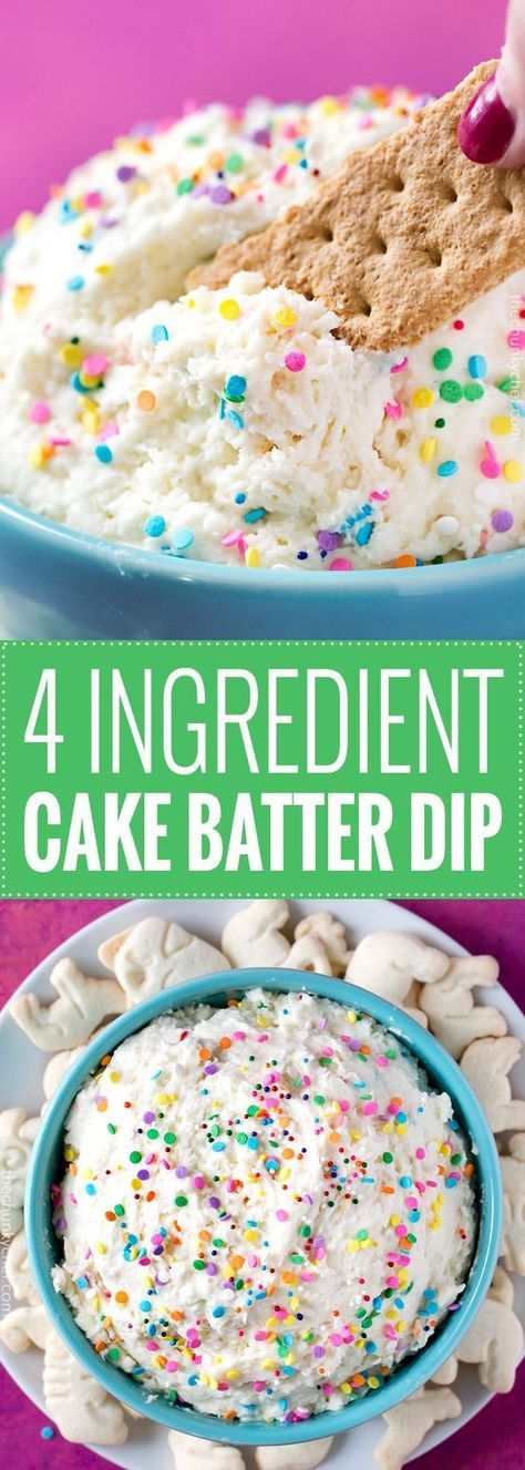 Four Ingredient Funfetti Cake Batter Dip | This dessert dip uses only 4 ingredients, is no bake, and tastes exactly like cake batter! Both kids and adults alike will love this funfetti treat! | http://thechunkychef.com