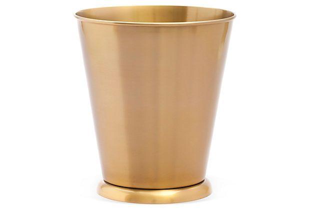 Brushed waste bin gold for Gold bathroom bin