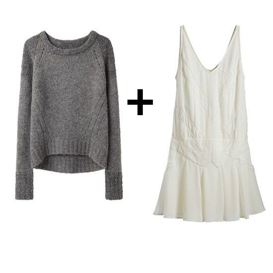 Wear your white dress once it gets chilly with a chunky sweater #fallfashion