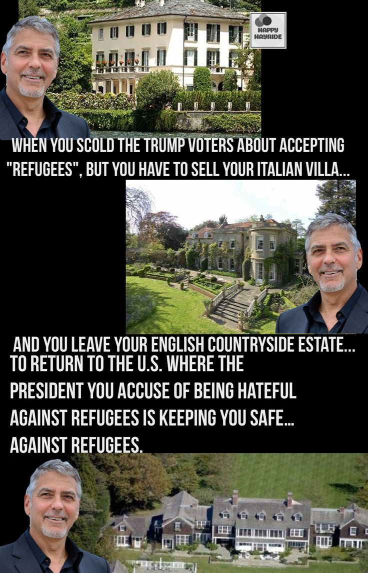 """2016: """"There's not going to be a President Donald Trump. That's not going to happen. Fear is not going to be something that drives our country. We're not going to be scared of Muslims or immigrants or women. We're not actually afraid of anything."""" George Clooney 2017: George Clooney moves Amal and the twins to the US for """"security reasons""""."""
