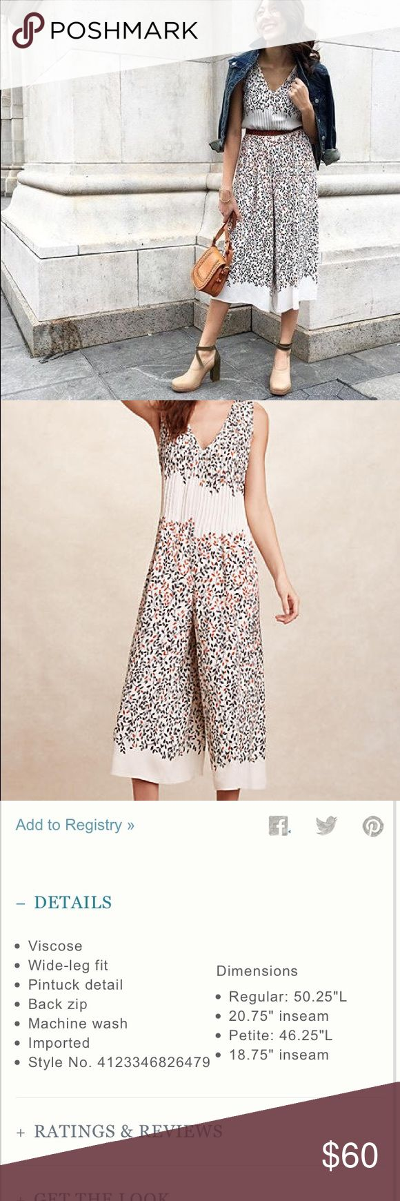 Anthropologie arboreta jumpsuit See details in above photo. Amazing jumpsuit. Sadly I started working out more and now it just doesn't fit right. My muscle gain is your new amazing jumpsuit gain! No trades. Anthropologie Pants Wide Leg