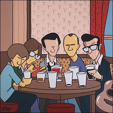 Sheffield Music Legends in Fagans by Pete McKee - This one shows Alex Turner [Arctic Monkeys], Jarvis Cocker, Tony Christie, Phil Oakey and Richard Hawley around a table in Fagans, the little pub on Broad Lane in Sheffield. #socialsheffield #sheffield