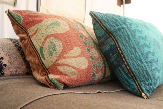 Bohème Kantha oreiller Coussins turquoise Sari 81,42€