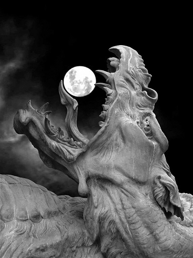 """In Norse mythology, Hati Hróðvitnisson (first name meaning """"He Who Hates, Enemy"""" is a warg that according to Gylfaginning chases the Moon across the night sky, just as the wolf Sköll chases the Sun during the day, until the time of Ragnarök when they will swallow these heavenly bodies, after which Fenrir will break free from his bonds and kill Odin. Hatí is possibly alluded to in Völuspá as """"moon-snatcher"""". --wikipedia"""