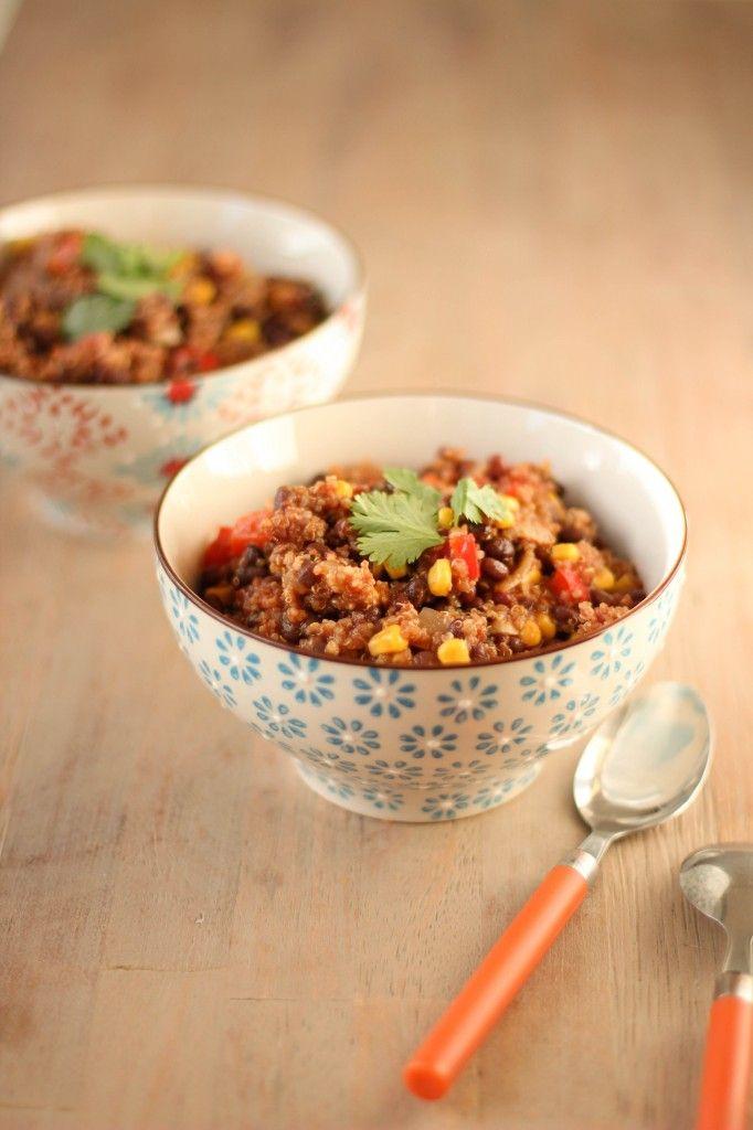 chili sin carne au quinoa, mais et haricots noirs - black bean quinoa chili (VEGAN)