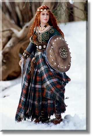 Wendelin   Red-haired Celtic warrior maiden, stands with sword and shield ready to defend her people Martha and Marianne Gallery
