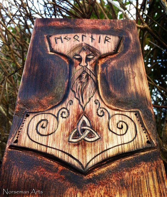 Mjolnir  Thor Wood Burning by NorsemanArts on Etsy, $58.00