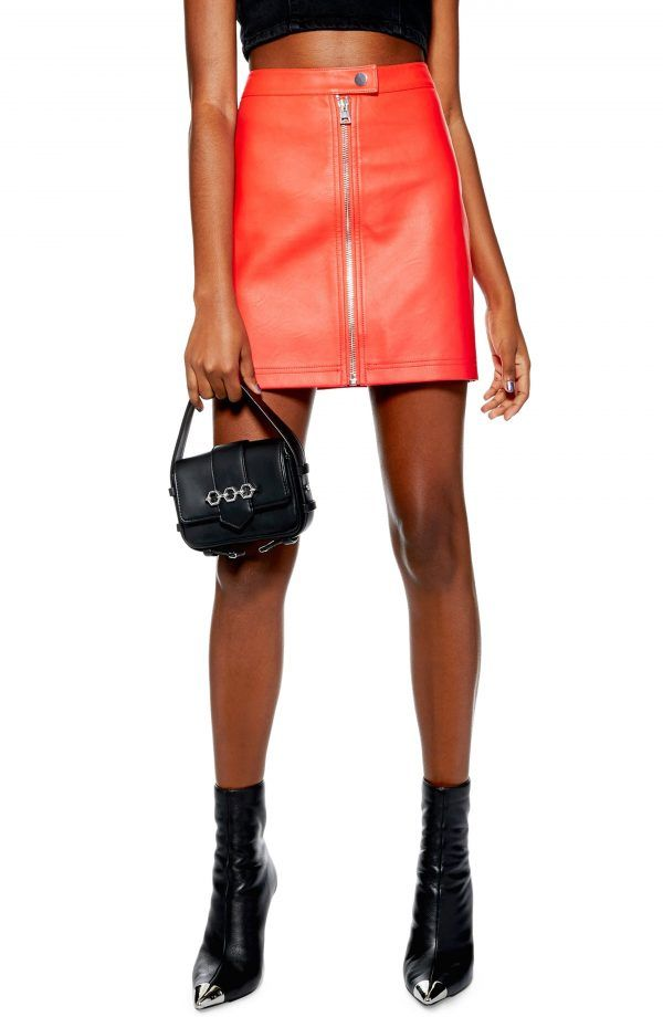 257f737f55 Petite Women's Topshop Penelope Faux Leather Miniskirt, Size 6P US (fits  like 2-4P) - Red