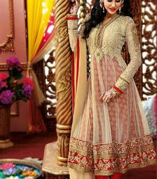 Buy Cream net embroidered semi stitched salwar with dupatta party-wear-salwar-kameez online