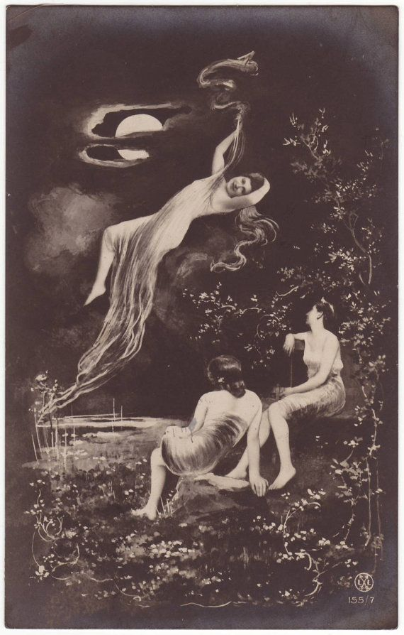 French fantasy postcard  Wood nymphs in the moonlight