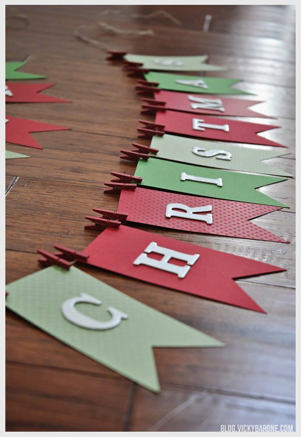 DIY - Guirlande - Simple - Pince À Linge - Carton Coloré - Christmas ✽