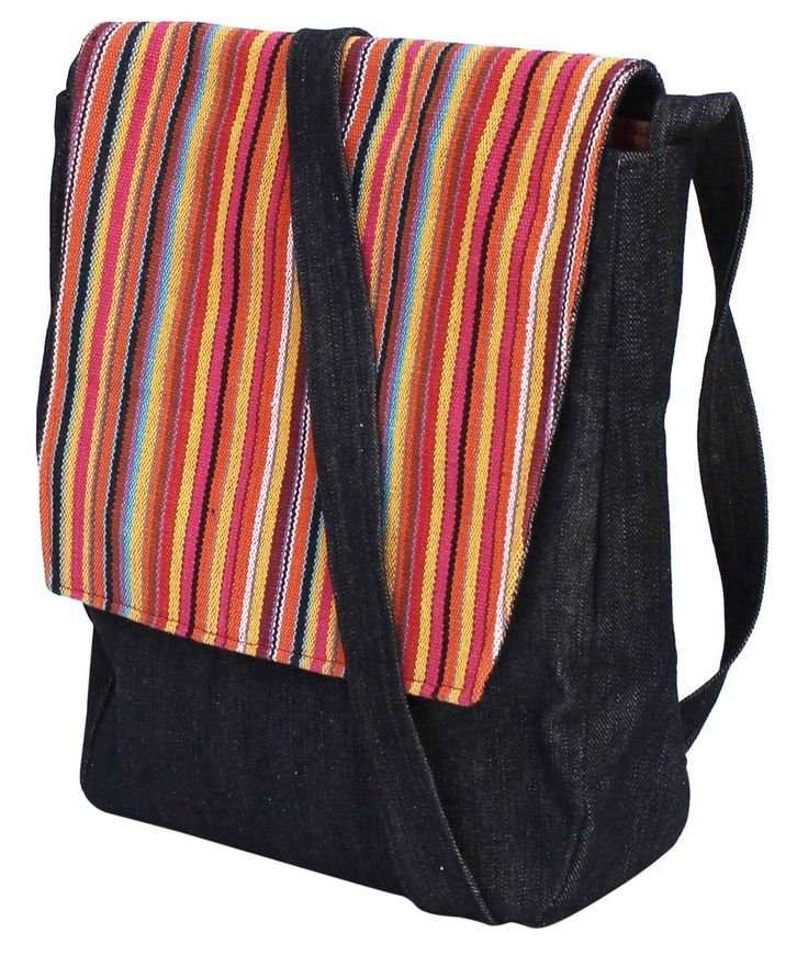 #Wholesale #Handmade #Black #Color #SlingBag / #CrossBodyBag in #Denim & #Canvas Material with a #Colorful #Striped #Pattern on the #Flap – Adorned with a #Shoulderbag Strap – #Stylish #Handbags / #Purses from #India