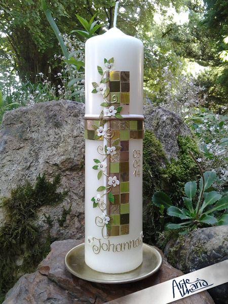 """Taufkerzen - ORIGINAL Mosaik-Kerze """"Alle deine Farben"""" Johanna - ein Designerstück von arte-maria bei DaWanda"""