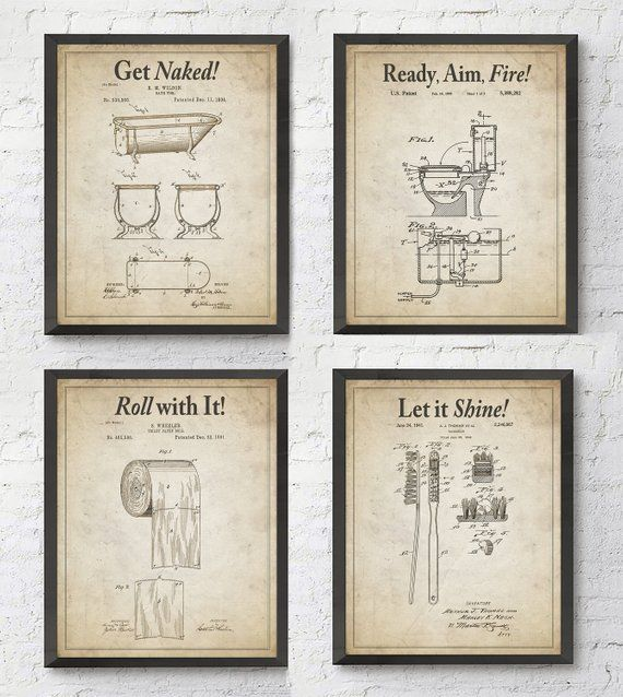 Bathroom Patent Wall Art Prints With Slogans Set Of 4 Etsy Toilet Art Vintage Toilet Etsy Wall Art