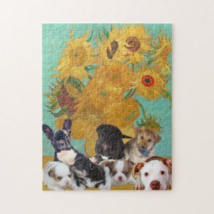 Cute Dogs with Van Gogh's Sunflowers Jigsaw Puzzle - home gifts ideas decor special unique custom individual customized individualized
