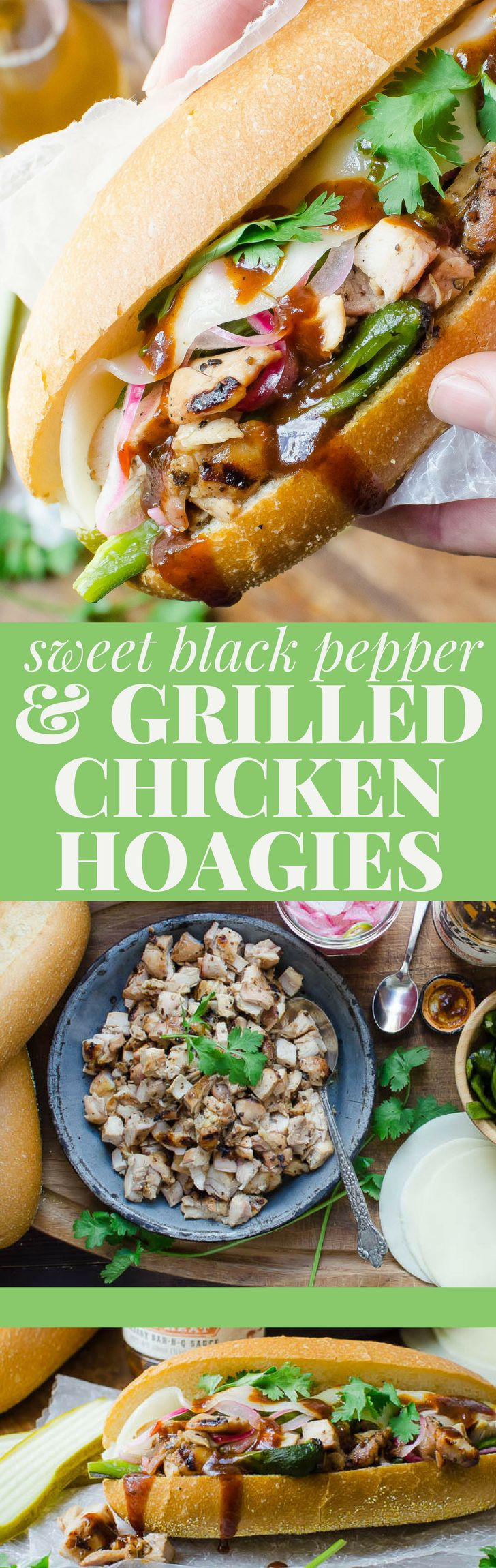 This easy grilled chicken tailgate recipe is a hot chicken sub on steroids and if you're looking for a make-ahead tailgate recipe, these Sweet Black Pepper Grilled Chicken Hoagies are it. Prep at home - grill at the game! #chicken #chickenthighs #grilledchickenthighs #tailgatingrecipes #easytailgaterecipes #hoagie #sandwich #submarine #sub #chickensub #chickenhoagie #grilledchickenhoagie #easytailgatingideas