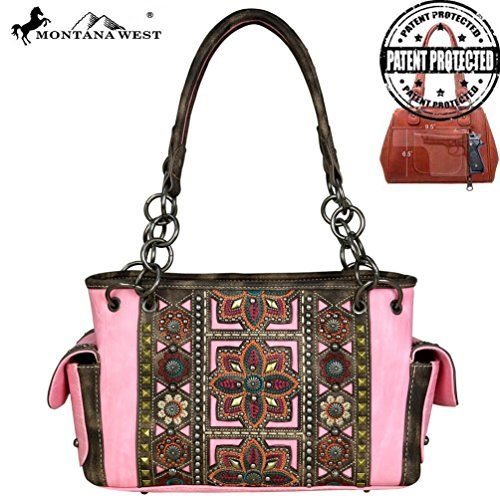 MW534G-8085 Montana West Concho Collection Concealed Handgun Collection Satchel (Pink)   #FreedomOfArt  Join us, SUBMIT your Arts and start your Arts Store   https://playthemove.com/SignUp