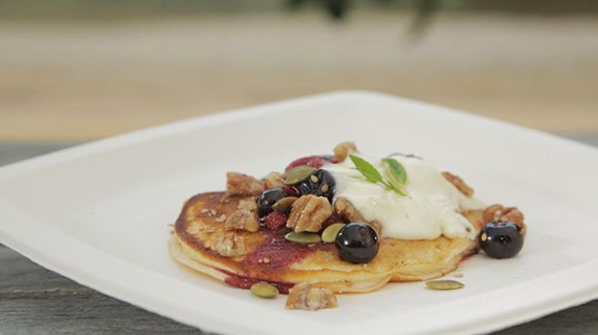 Blueberry Ricotta Hotcakes with Berry Compote and Candied Pecans