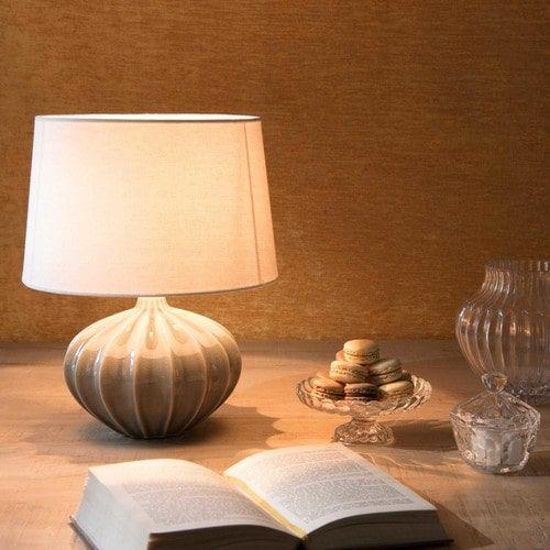 Lampe en céramique grise abat-jour blanc FISSA