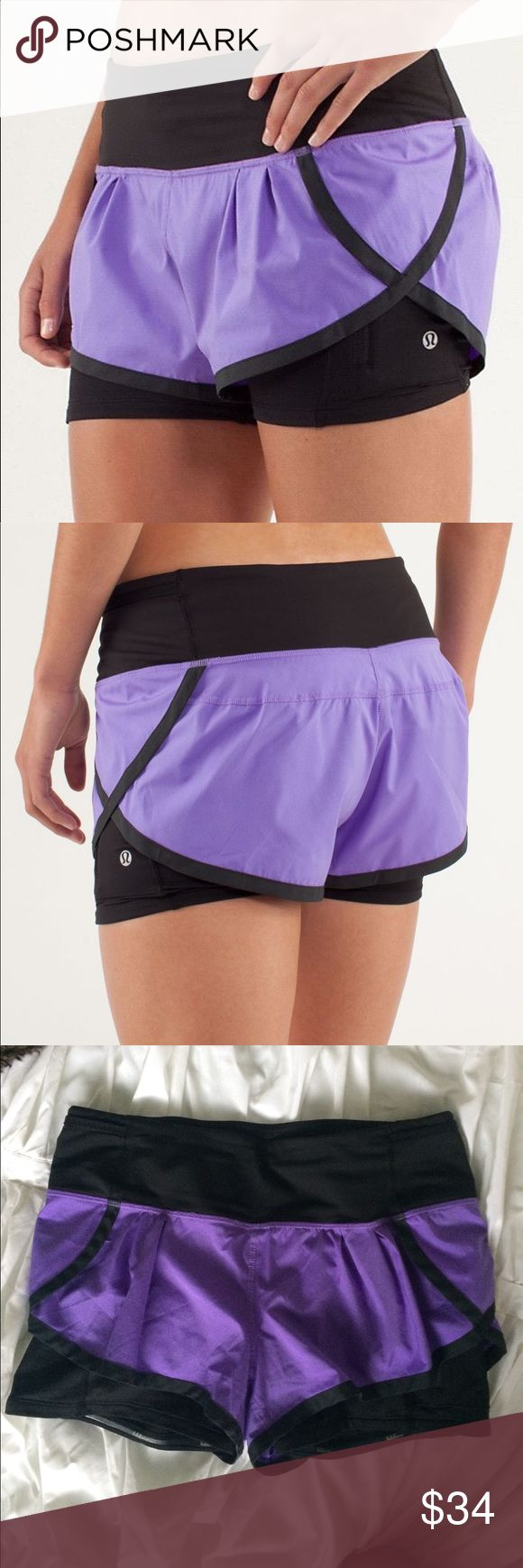 Lululemon speed squad running shorts sz 6 purple In perfect condition- size 6- anti slip protection on inside of short so they don't ride up lululemon athletica Shorts