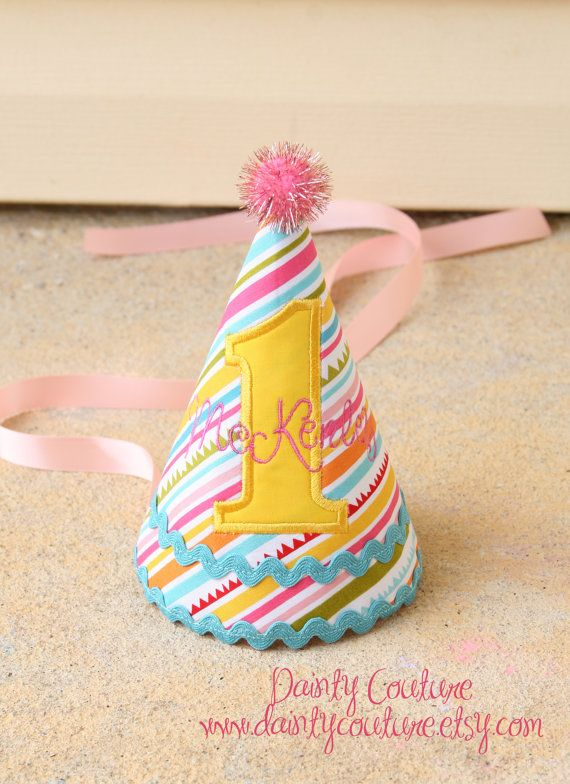 First Birthday Party Hat Personalized  Sunny by DaintyCouture, $25.00