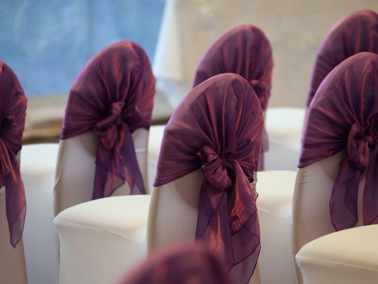 Real Wedding: Purple chair wraps – Wedding Planner, Brisbane, Gold Coast, Olive Rose Weddings & Events
