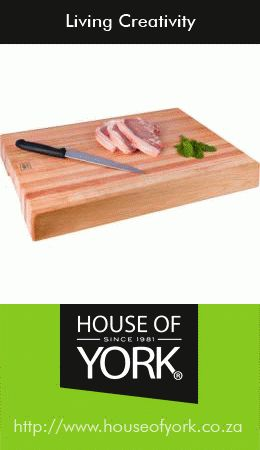 This Butcher's Block from House of York is perfect for preparing a yummy Valentine's Dinner on. Made from Saligna hardwood, you can buy it from R504,95. #butchersblock #cooking