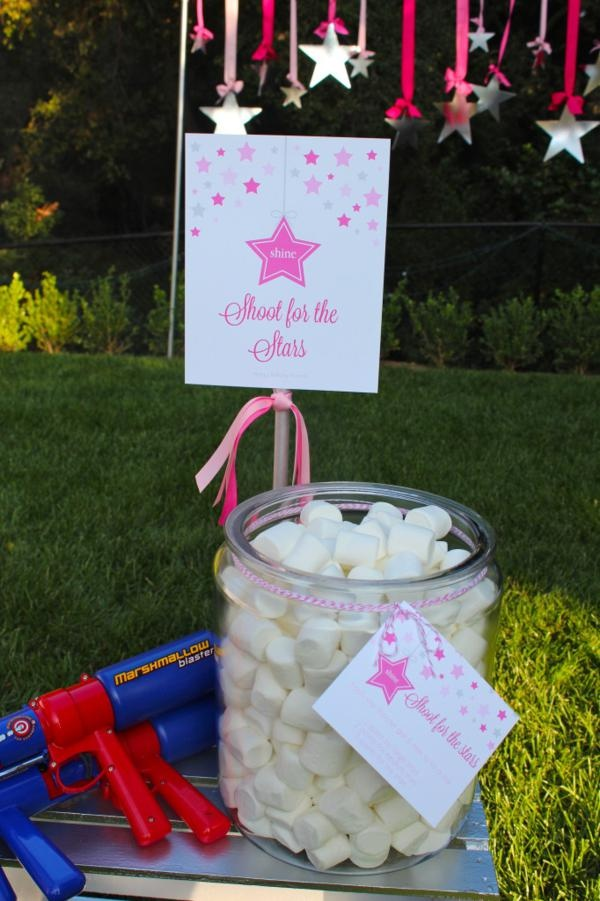 "Under the Stars Birthday Party: ""Shoot for the Stars"" marshmallow gun target practice :)  {Bloom Designs}"
