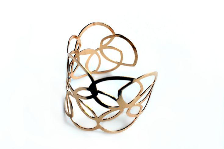 """Loops & Patterns"" Gold Cuff Bracelet"