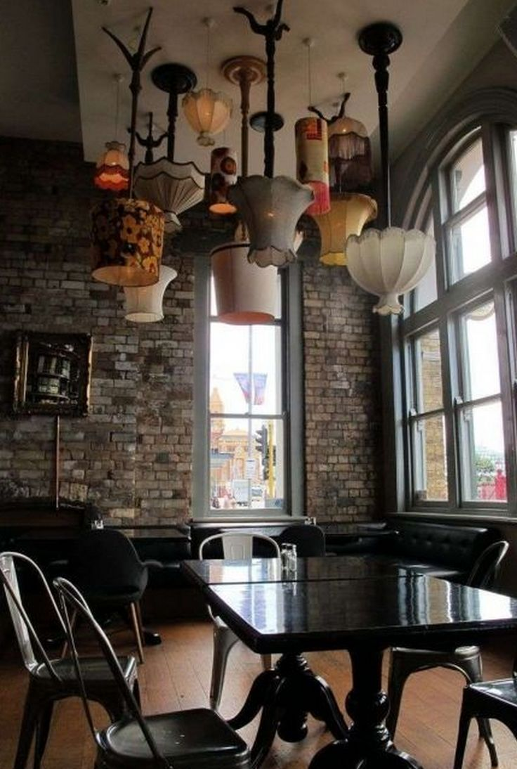 Love this funky idea of lamps on the ceiling!