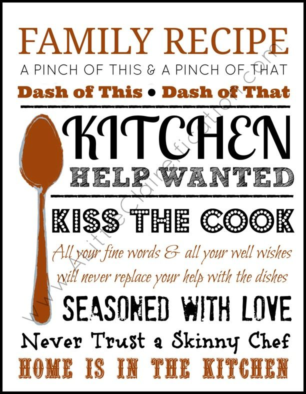 Home Is In The Kitchen Free Printable by ALittleClaireification.com #foodie #free #printables