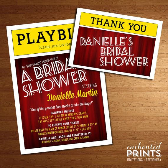 Broadway Collection Invitation, available as a print-yourself PDF/JPG file, or professionally printed invitations with envelopes to be delivered