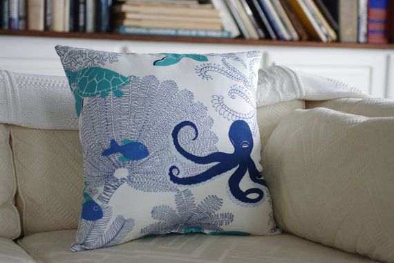 Ocean Song Throw Pillow  - 18x18 - Octopus, Sea Turtles, Fish and Sea Fans on Etsy, $48.00