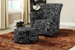Black French Fabric Easy Chair Set | Morning Furniture