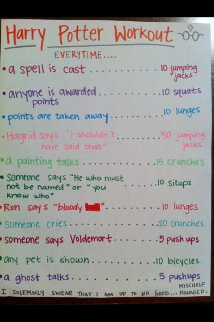 Harry Potter Workout... not a bad ideaIdeas, Fit, Movie Workout, Harry Potter Workout, Harrypotter, Harry Potter Marathon, Harry Potter Movie, Work Out, Health