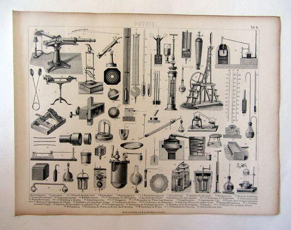 Antichi strumenti di fisica 1859 incisione di LyraNebulaPrints