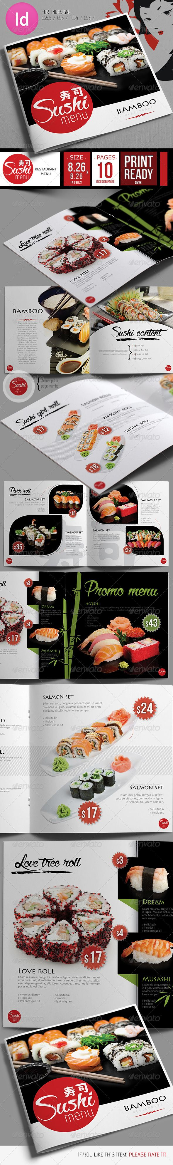 Fresh Sushi Restaurant Menu Template #design #speisekarte Download…