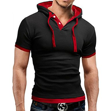 Mens Stylish Short Sleeve Hoodie (3 Colours)
