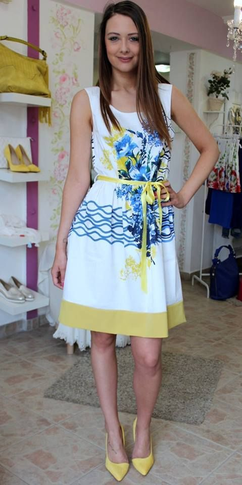 Blue & white dress with a yellow belt