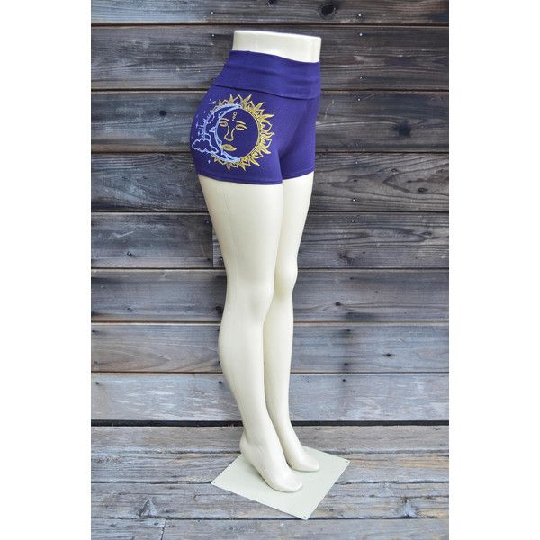 Purple Sun and Moon Hot Shorts Glow in the Dark Moon Phases Women's... ($38) ❤ liked on Polyvore featuring grey, shorts and women's clothing